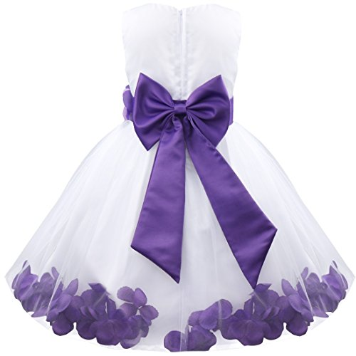 TiaoBug Girls Kids Summer Flower Petals Tulle Formal Wedding Pageant Party Princess Dress 8 Years Purple from TiaoBug