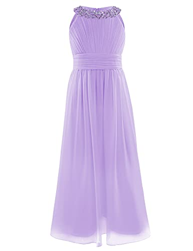 TiaoBug Kids Girls Dress Beading Neckline Chiffon Wedding Party Princess Prom Gown Dresses Lavender 10 Years from TiaoBug