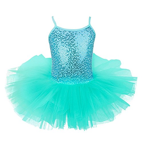 TiaoBug Girls Spaghetti Sequined Ballet Dance Dress Tutu Skirt Turquoise 5-6 Years from TiaoBug