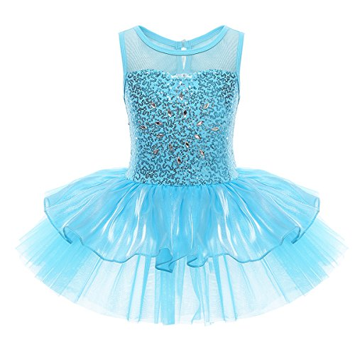 TiaoBug Girls Spaghetti Sequined Ballet Dance Tutu Dress Gymnastic Leotard Skirt (5-6 Years, Sleeveless Blue) from TiaoBug