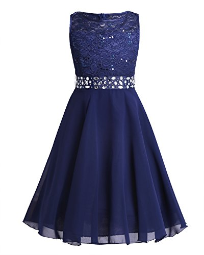 TiaoBug Kids Girls Sequined Lace Mesh Flower Wedding Bridesmaid Princess Pageant Party Dress Prom Ball Gown Navy Blue Chiffon 12 Years from TiaoBug