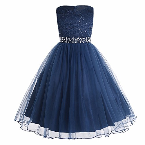 TiaoBug Kids Girls Sequined Lace Mesh Flower Wedding Bridesmaid Princess Pageant Party Dress Prom Ball Gown Navy Blue 2 Years from TiaoBug