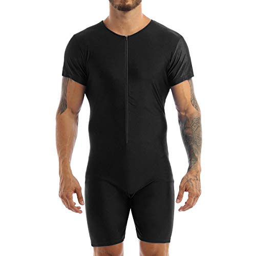 TiaoBug Mens One-Piece Sleeveless Solid Modified Wrestling Singlet Tight Vest Bodysuit Black Short Sleeve Medium from TiaoBug