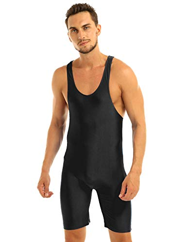 TiaoBug Mens One-Piece Sleeveless Solid Modified Wrestling Singlet Tight Vest Bodysuit Black XL from TiaoBug