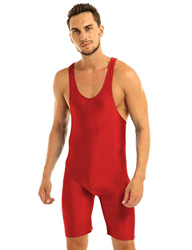 TiaoBug Mens One-Piece Sleeveless Solid Modified Wrestling Singlet Tight Vest Bodysuit Red XL from TiaoBug