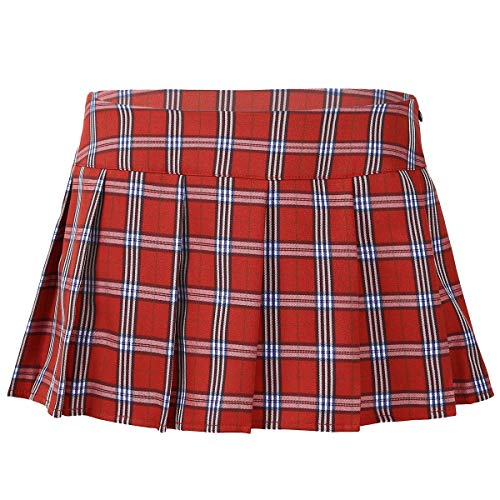 TiaoBug Women's Role Play Sexy Plaid Schoolgirl Cosplay Lingerie Sleepwear Micro Mini Pleated Skirt Red XX-Large from TiaoBug
