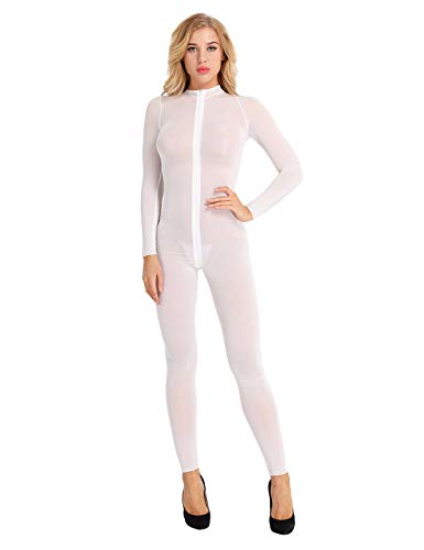 TiaoBug Womens Lingerie Long Sleeves Double Zipper Sheer Smooth Bodysuit Jumpsuit Catsuit White Medium from TiaoBug