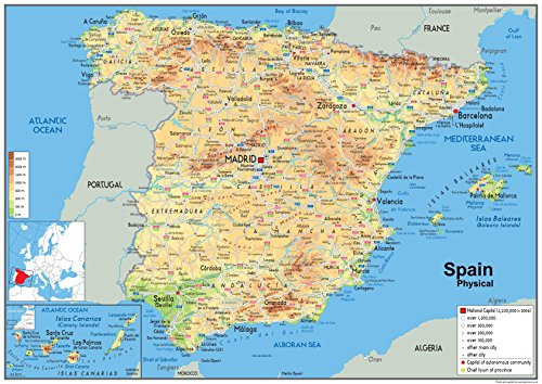 Spain Physical Map - Paper Laminated - A1 Size 59.4 x 84.1 cm from Tiger Moon