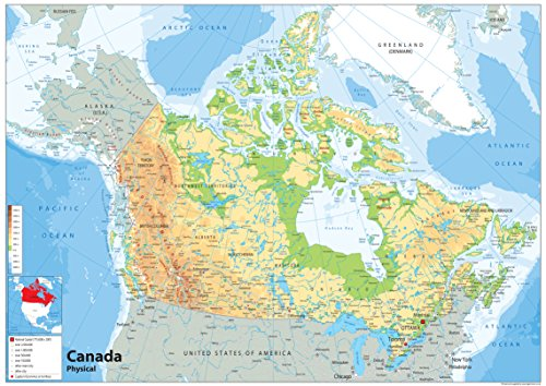 Canada Physical Map - Paper Laminated (A1 Size 59.4 x 84.1 cm) from Tiger Moon
