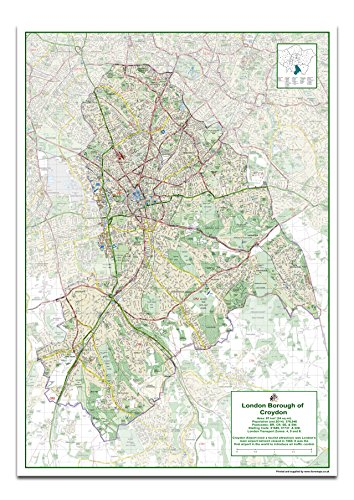 London Borough of Croydon Map - Size 84.1 x 118.9 cm from Tiger Moon
