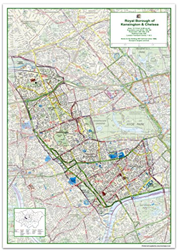 London Borough of Kensington & Chelsea Map - Size 84.1 x 118.9 cm from Tiger Moon