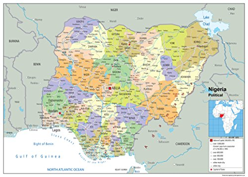 Nigeria Political Map - Paper Laminated (A1 Size 59.4 x 84.1 cm) from Tiger Moon