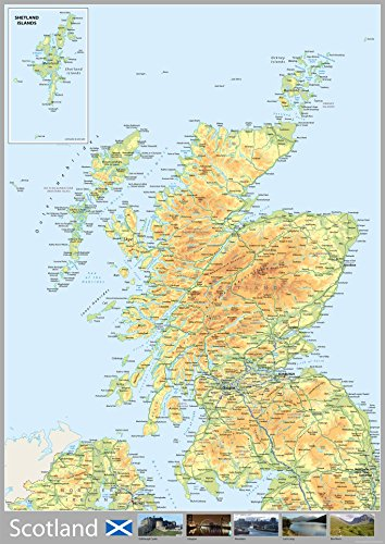 Scotland Map - A0 Size 84.1 x 118.9 cm from Tiger Moon