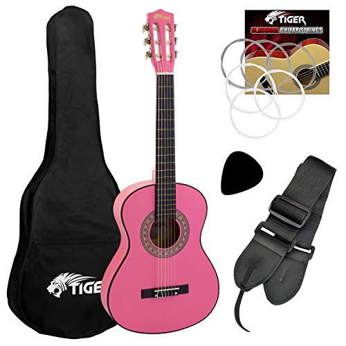 Jasmin Beginner 1/2 Size Classical Guitar Pack - Pink Guitar from Tiger Music