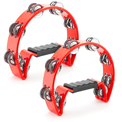 Tiger Pack of 2 Half-Moon Red Tambourines from Tiger