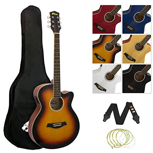 Tiger Full Size Electro Acoustic Guitar Package for Beginners with Built In Tuner and EQ - Sunburst from Tiger Music