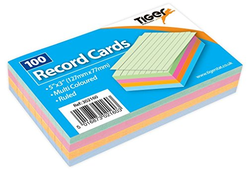 "1 x 100 Sheet Pack of Record Flash Cards Coloured Study Revision Coloured 5x3"" from Tiger"