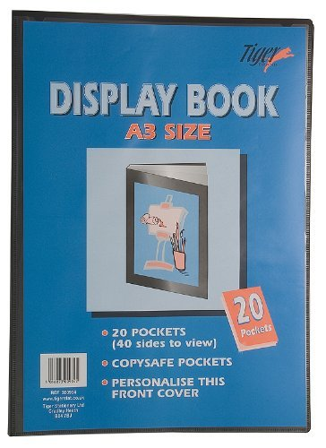 1 x A3 Display Books 20 Pockets (40 Views) Black Project Presentation Folder Document Folio Hard Cover from Tiger