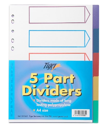 10x A4 Colour Coded 5 Part Strong Filing Subject Dividers Tabbed Ringbinder from Tiger