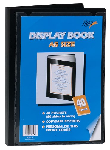12 x A5 40 Pockets (80 Views) Display Books Black Project Presentation Folder Document Folio Heavy Duty from Tiger