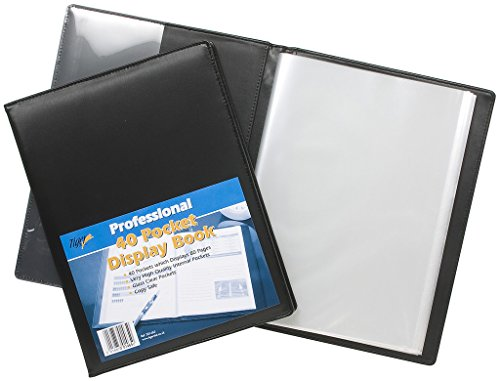 A4 Deluxe Hardback Display Book Black Padded Leather Look Business Folder 40Pkt from Tiger
