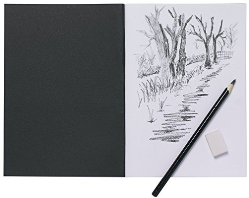 A5 Artist Sketch Book White Cartridge Paper Black Card Cover Art Pad from Tiger