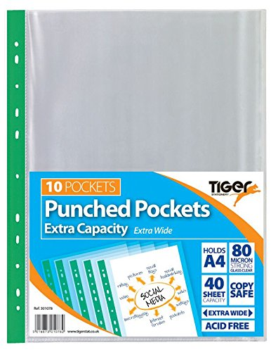 Tiger 10 x A4 Extra Capacity SINGLE Large Punched Pockets from Tiger
