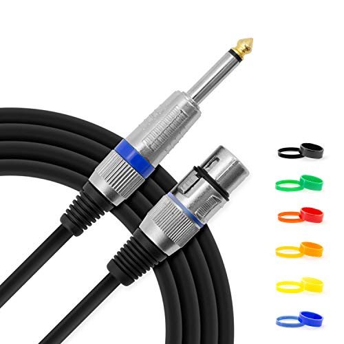 Tiger 3m (10ft) XLR Female to 1/4 inch Jack Microphone Cable with Interchangeable Coloured Loops from Tiger