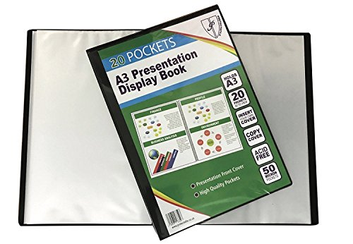 Tiger A3 Black Presentation Display Book with 20 Pockets (40 Views) from Tiger
