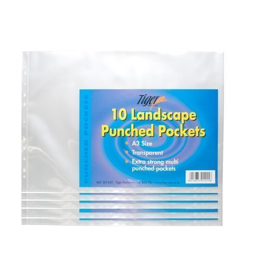Tiger A3 landscape strong plastic poly pockets wallet sleeves clear finish - pack of 50 from Tiger