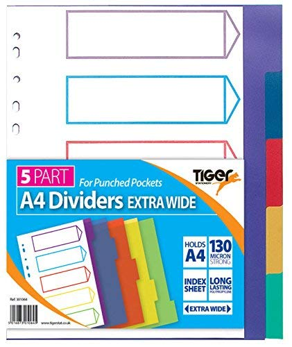 Tiger A4 5 Part Extra Wide Dividers for use with punched pockets (5 Pack) from Tiger