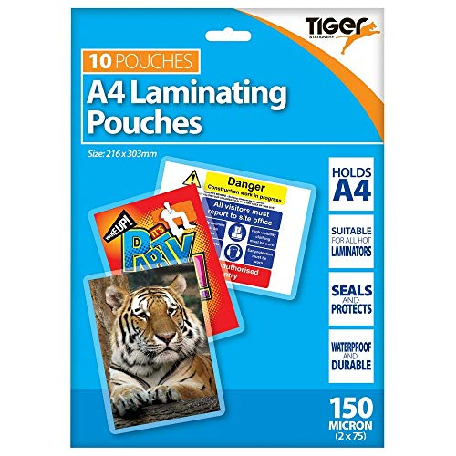 Tiger A4 laminating pouches 150 microns pack of 10 from Tiger