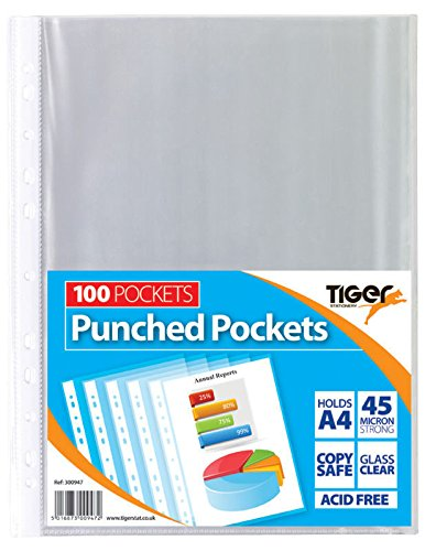 Tiger A4 strong plastic poly pockets wallet x 200 clear sleeves from Tiger