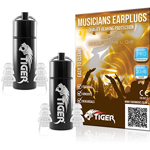 Tiger Professional Musician's Filter Earplugs - Hearing Protection Ear Plugs SNR 20dB – Pack of 2 from Tiger