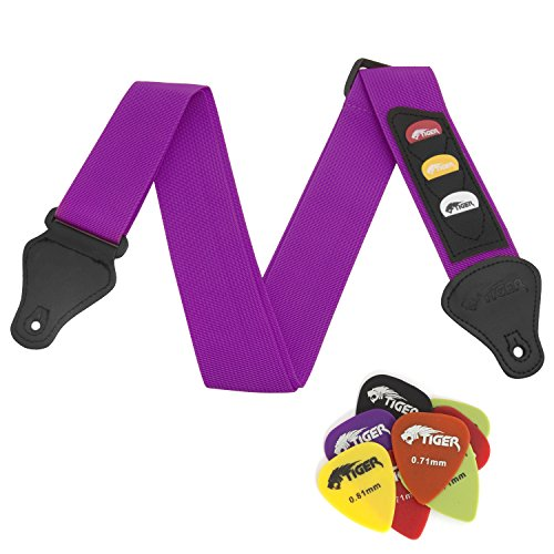 Tiger Purple Guitar Strap and 12 Free Picks from Tiger