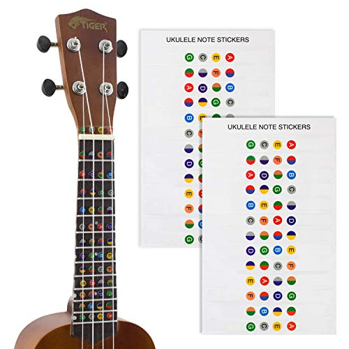 Tiger Ukulele Note Sticker - Colour Coded Fretboard Stickers - 2 Pack from Tiger