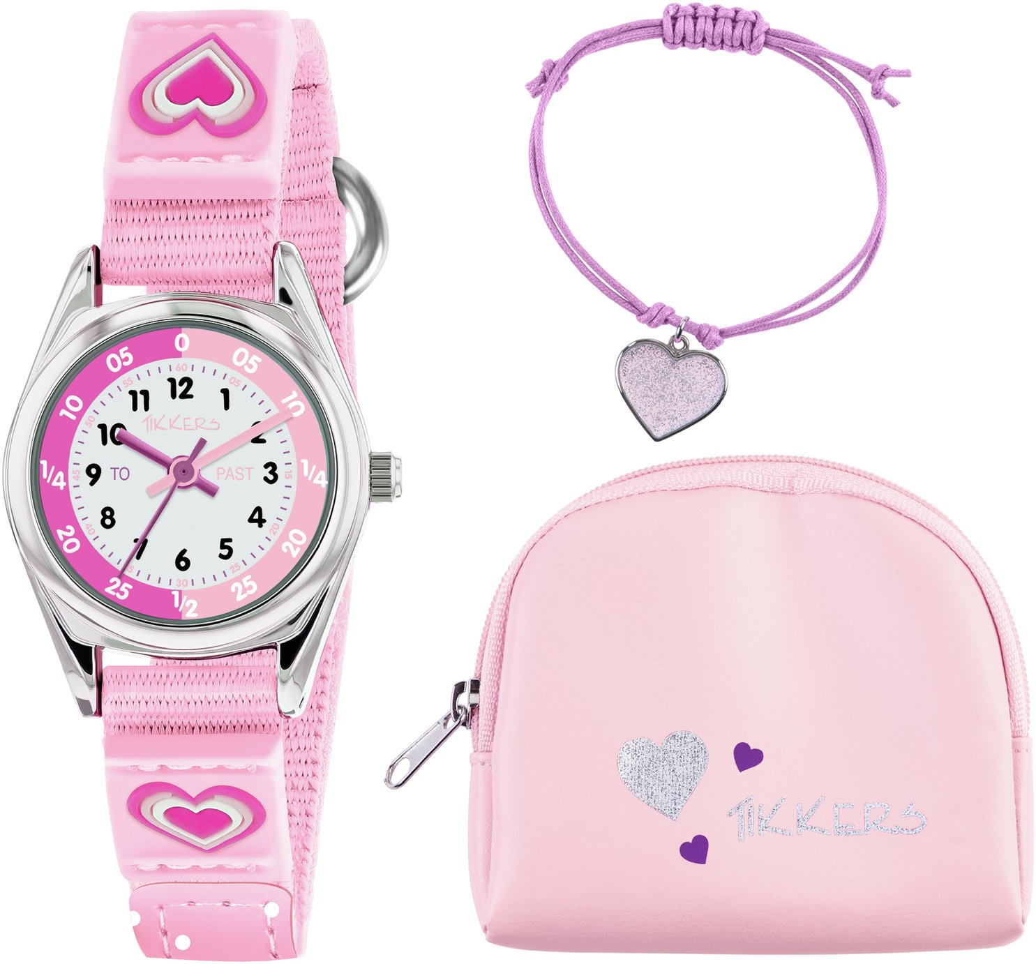 Tikkers Pink Heart Time Teacher Watch Set from Tikkers