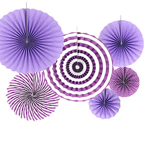 6 MIX Hanging Paper Flowers Party Fan Tissue Paper Fan Festival Party Wedding Home Birthday Decor -Purple from Time to Sparkle