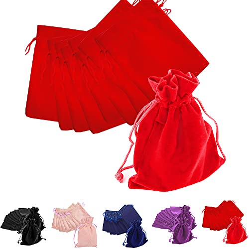 Time to Sparkle TtS 20pcs 10x13cm Velvet Drawstring Bags Velvet Pouches for Jewelry Gift Packaging Wedding, Red from Time to Sparkle