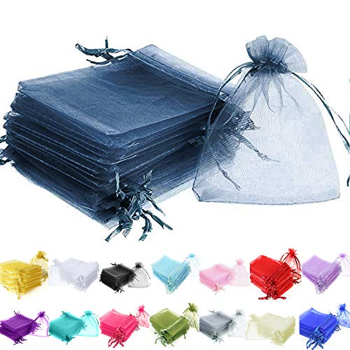 Time to Sparkle TtS 100 Pieces Pouches Organza Gift Bags Oragnza Wedding Favour Bags Jewellery Packing (Navy Blue, 10x15cm) from Time to Sparkle