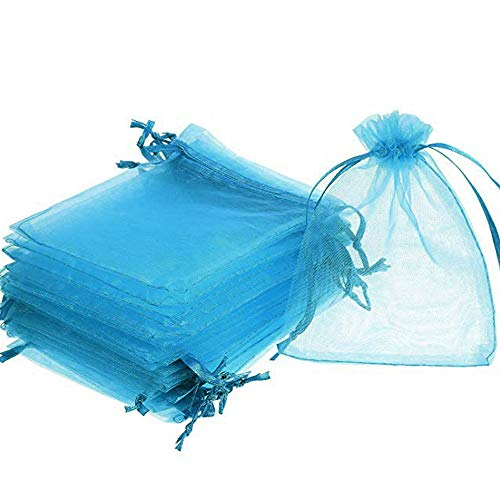 Time to Sparkle TtS 100 Pack Organza Gift Bags Wedding Party Favour Jewellery Packing Pouches, Aqua, 13x18cm from Time to Sparkle