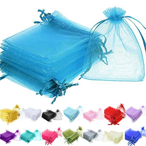 Time to Sparkle TtS 50 Pieces Pouches Organza Gift Bags Oragnza Wedding Favour Bags Jewellery Packing (Aqua, 10x15cm) from Time to Sparkle