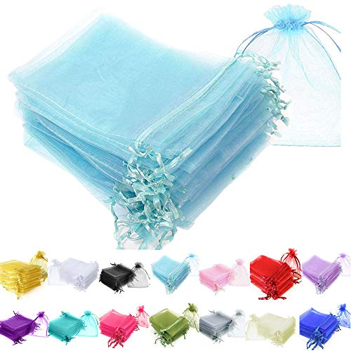Time to Sparkle TtS 50 Pieces Pouches Organza Gift Bags Oragnza Wedding Favour Bags Jewellery Packing (Baby Blue, 10x15cm) from Time to Sparkle