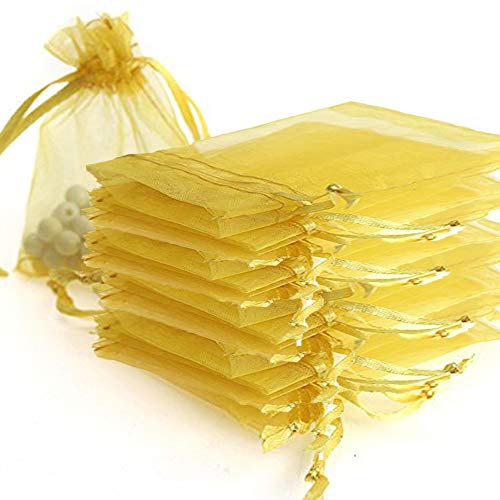 Time to Sparkle TtS 50pcs Pouches Organza Gift Bags Oragnza Wedding Party Favour Jewellery, 20x30cm, Gold from Time to Sparkle