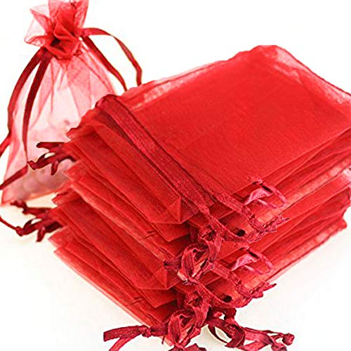 Time to Sparkle TtS pack of 50 Pouches Organza Gift Bags Oragnza Wedding Party Favour Jewellery- 20x30CM-50pcs-Red from Time to Sparkle