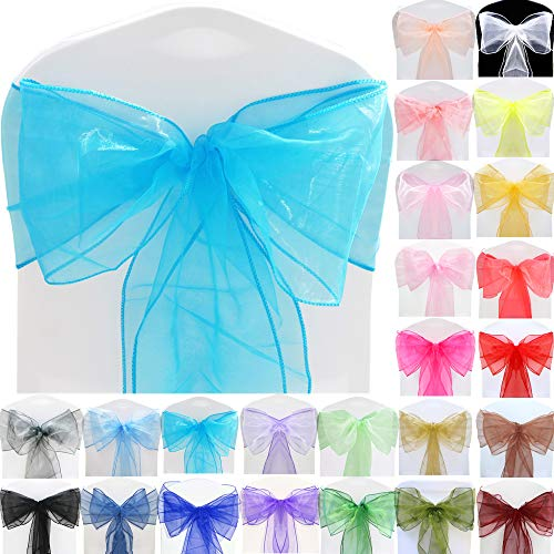 TtS (Aqua) Organza Sashes Wider Sash Fuller Bows Chair Cover Bows Sash for Wedding Party Birthday Decoration from Time to Sparkle