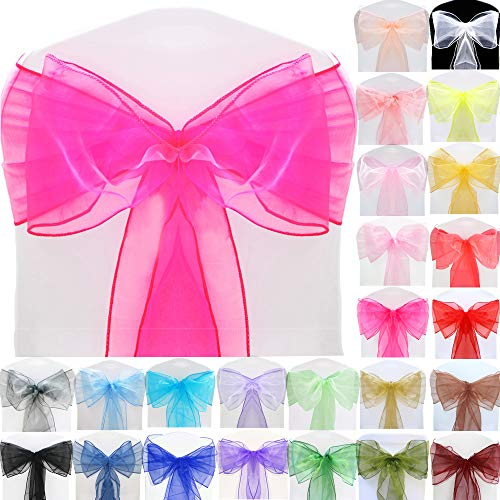 TtS (Hot Pink) Organza Sashes Wider Sash Fuller Bows Chair Cover Bows Sash for Wedding Party Birthday Decoration from Time to Sparkle