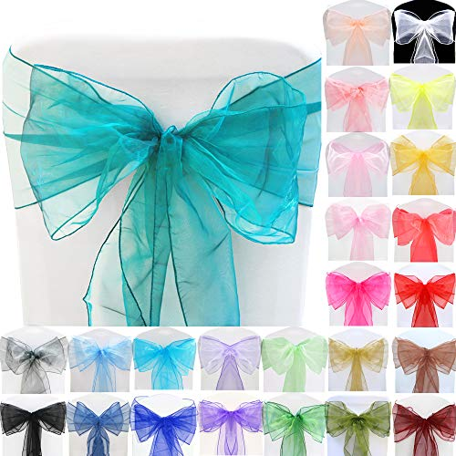 TtS (Turquoise) Organza Sashes Wider Sash Fuller Bows Chair Cover Bows Sash for Wedding Party Birthday Decoration from Time to Sparkle