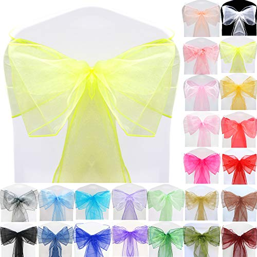 TtS (Yellow) Organza Sashes Wider Sash Fuller Bows Chair Cover Bows Sash for Wedding Party Birthday Decoration from Time to Sparkle