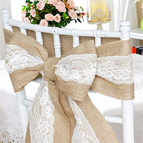 Time to Sparkle 1/5/10/20/50/80/100pcs Hessian Sashes Jute Lace Sashes Glitter Jute Chair Bow Natural Burlap Wedding Party 240X17cm- Jute with Lace,80 from Time to Sparkle